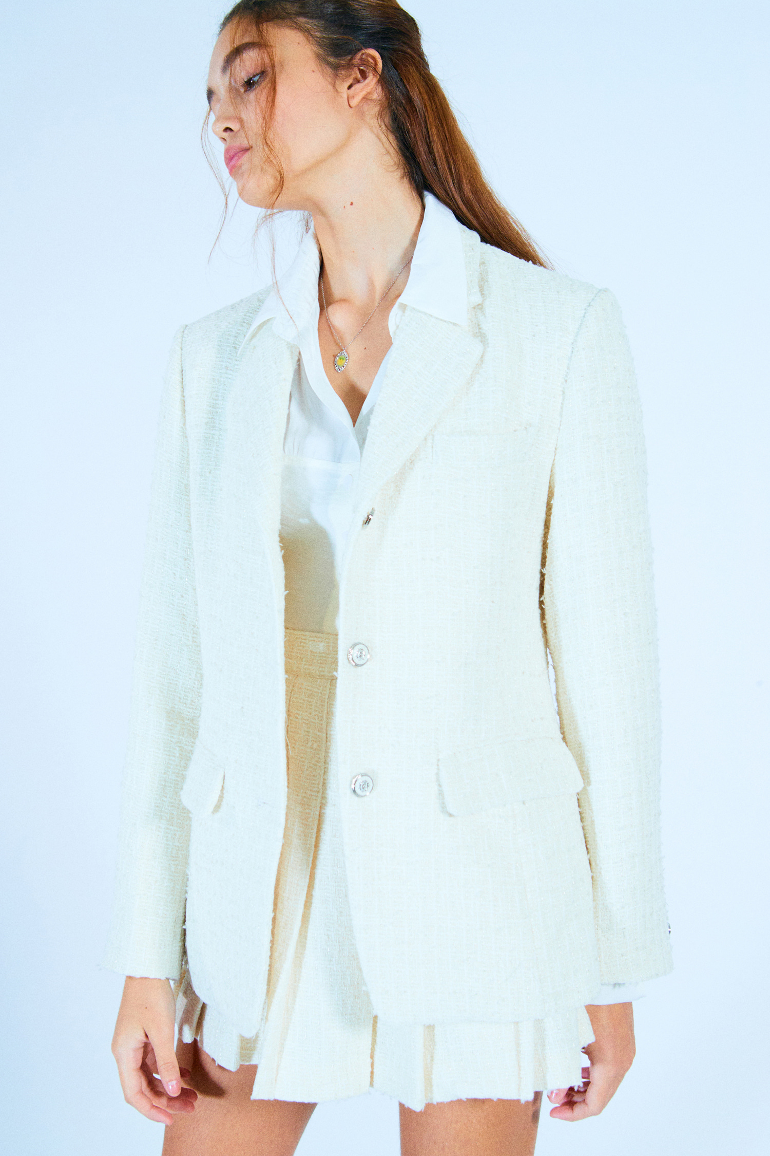 MEDEIA JACKET_IVORY TWEED