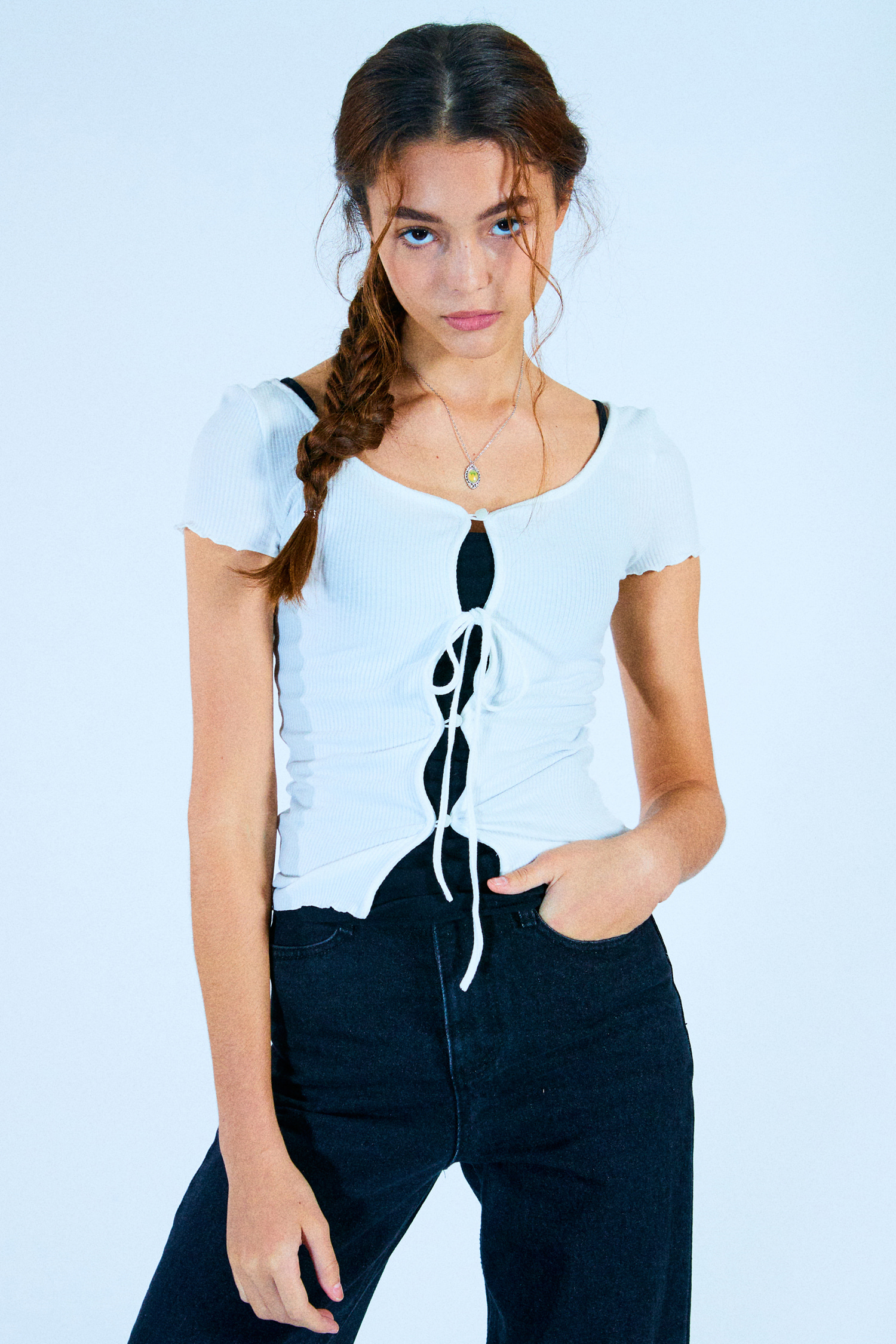 RIBBON SHORT SLEEVE CARDIGAN_WHITE