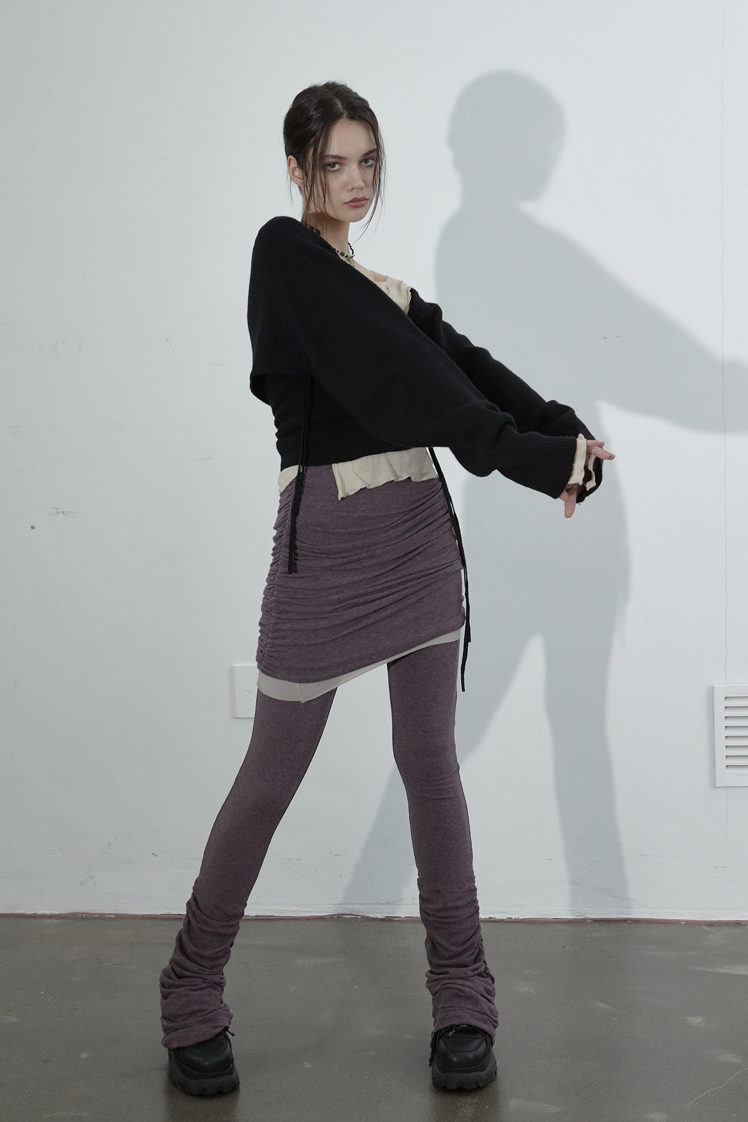 OZ SKIRT PANTS_PURPLE MELANGE