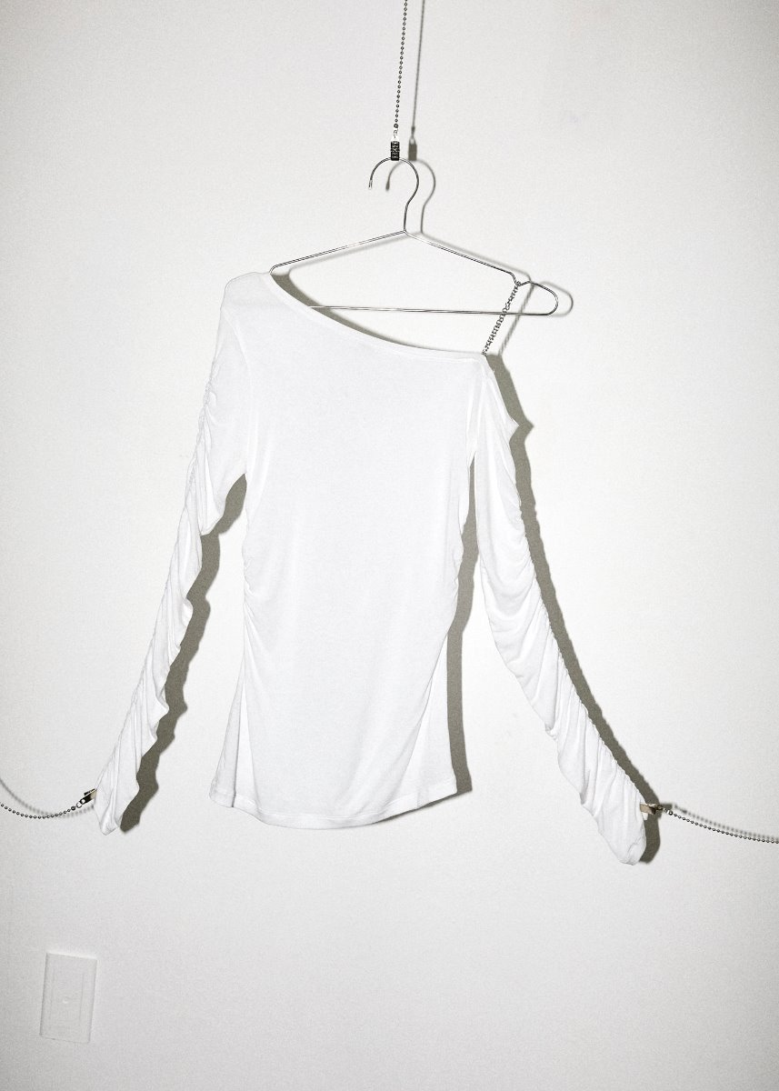 ONE SHOULDER CHAIN T white