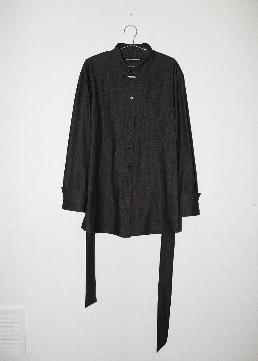 BELTED SHIRT black denim