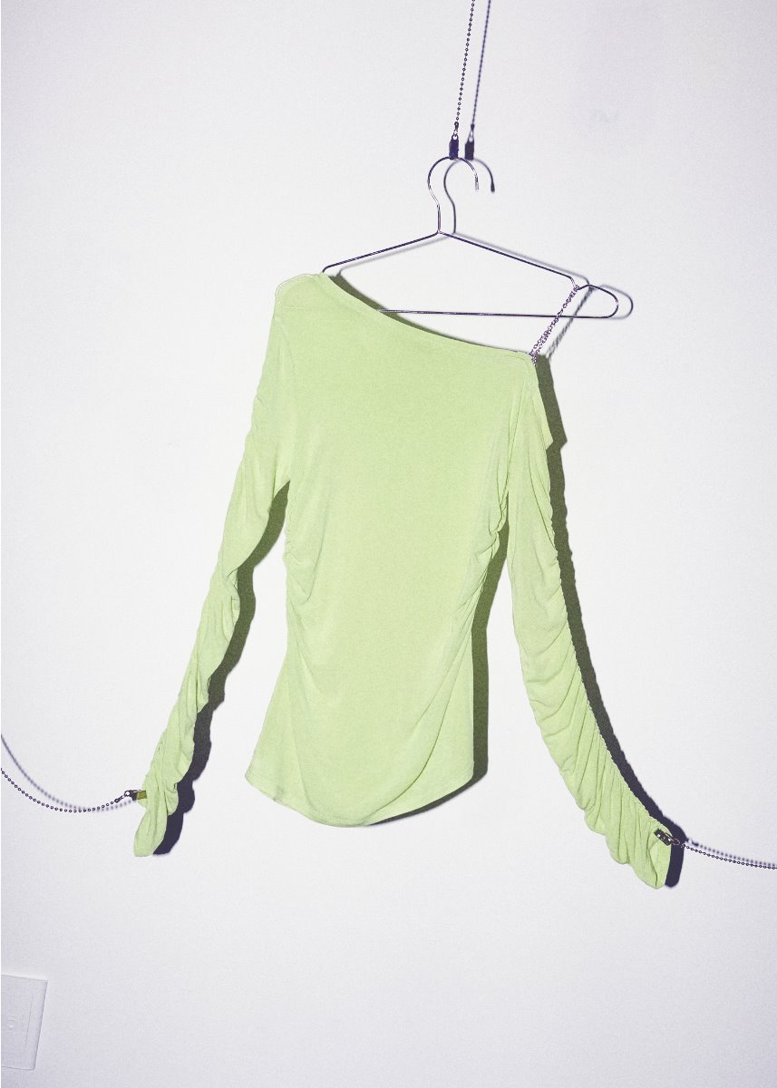 ONE SHOULDER CHAIN T lime