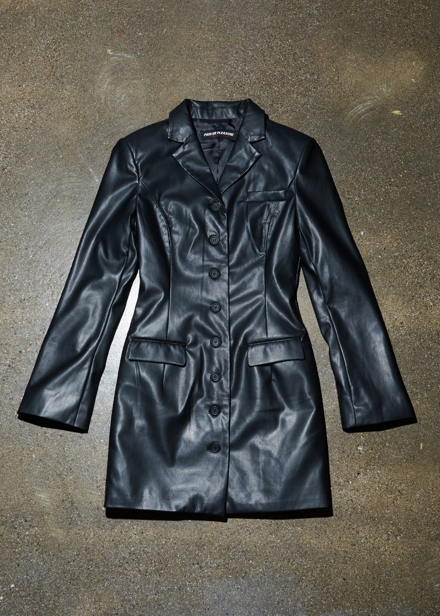 LEATHER ONEPIECE JACKET black