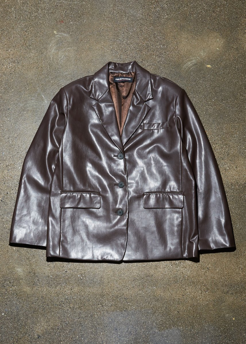 OVERSIZE LEATHER JACKET brown