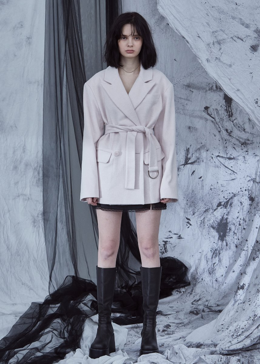 D-RING BELTED COAT pale pink