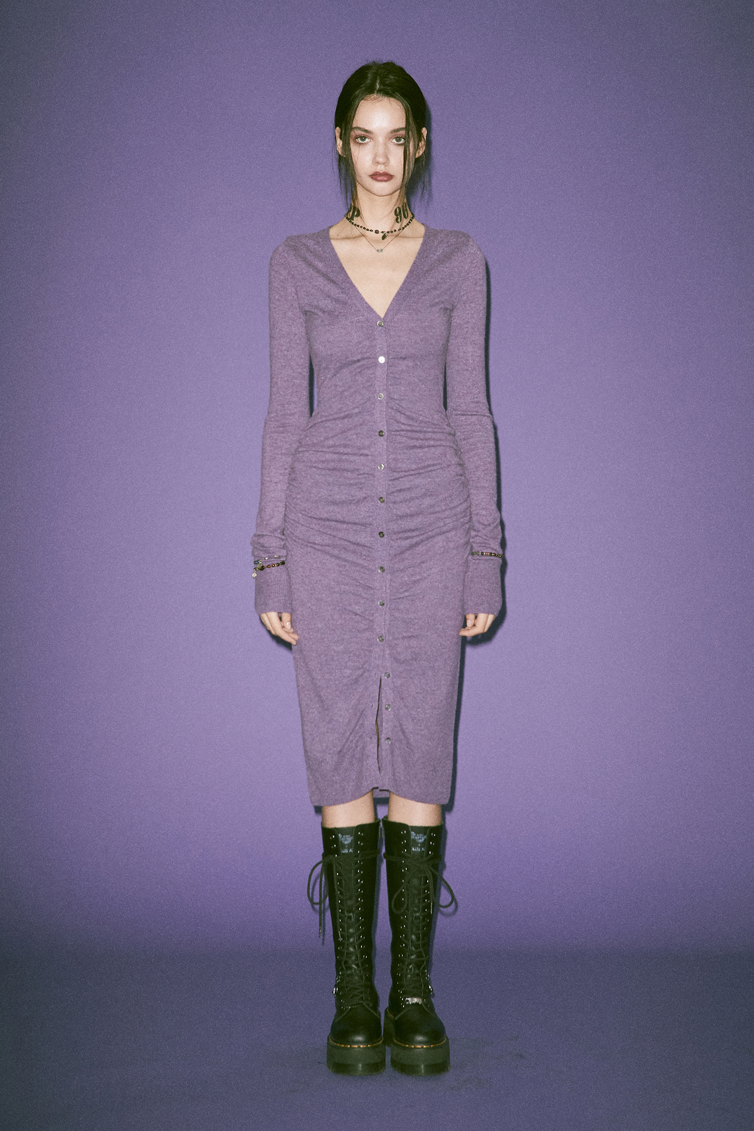 LEDA KNIT DRESS_PURPLE MELANGE [10월 7일 예약배송]